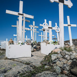 Crosses, plastic flowers, cementry